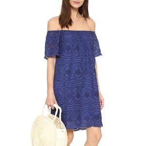 JOIE Bondi Off the Shoulder Blueprint Eyelet Dress